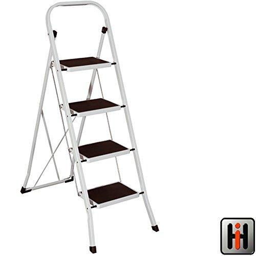 Klapptritt-4-stufig-mit-Kunststoff-Auflagen-bis-150kg-belastbar-TV-GS-Klapptrittleiter-4-Sprossen-Stufen-Trittleiter-Haushaltsleiter-Leiter