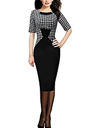 Sparkling YXB Womens Dog Tooth Print Optical Illusion Wear to Work Slim Business Pencil Dress