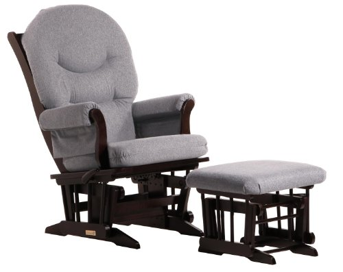 Ultramotion by Dutailier Sleigh Glider and Nursing Ottoman Combo with C Cushion, Espresso/Dark Grey