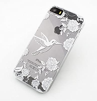 iPhone 6 Case, LUOLNH Henna Vintage Hummingbird Floral Hard Plastic Clear Case Silicone Skin Cover for Apple Iphone 6 4.7 inch Screen by LUOLNH