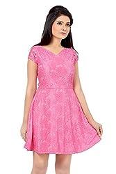 Ishin nylon lace pink skater dress