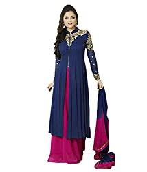 Feni Cration Blue Georgette Embroidered Semi Stich Salwar Suit Dress Material