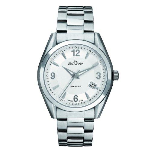 Grovana 1566,1132 - Reloj analógico de cuarzo para hombre, correa de acero inoxidable color plateado