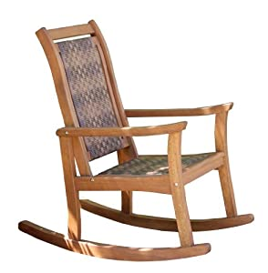 Outdoor Interiors 21095rc All Weather Wicker Mocha And Eucalyptus Rocking Chair by Commerce Corporation - In Network