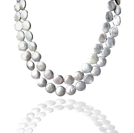 Bling Jewelry White Biwa Coin Pearl Long Strand Necklace 51in.