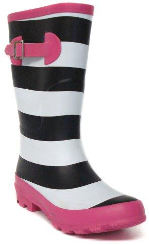 "Platino ""Strider"" Girls Wellington Boots – Black/White/Pink"