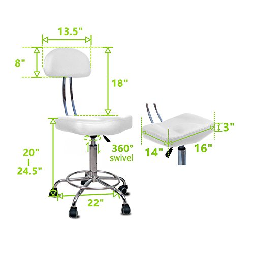Nrg Rolling Stool With Removable Backrest Dealtrend