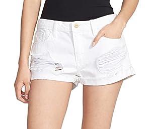 Frame Denim Womens Ripped Cuffed Denim Shorts White 31