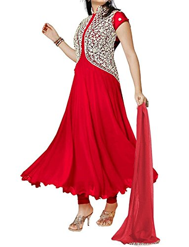 Silkone Women's Georgette Semi Stitched Anarkali Suit (Silk01106_Red_X-Large)