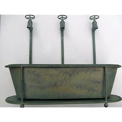 /Primitive Faucet Galvanized Steel Long Plant Holder, Faucet Planter