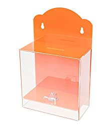 Source One Clear Face Orange Donation Box - Ticket Box - Collection Box - Counter Top or Wall Mount Use ...