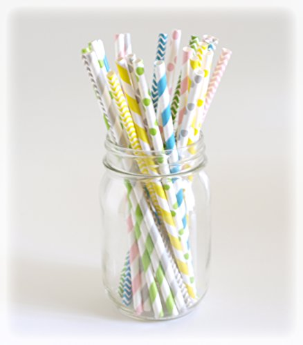 Paper Drinking Straws, Small Straws, Candy Stripe Straw, Novelty Straws, 25 Pack - Pastel Multi Design back-753694