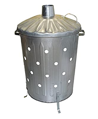 Garden Fire Bin Incinerator Galvanised Ideal For Burning Wood Leaves Paper 90 Litre Fast Burner Free Ash Shovel Poker from S&MC Gardenware