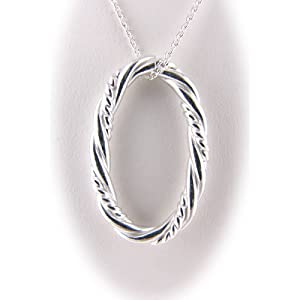 925 Sterling Silver Oval Twist Rope Pendant, Cable Chain 18 Inch