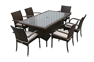 Rattan Garden Furniture Outdoor Dining 6 Roma Chairs And