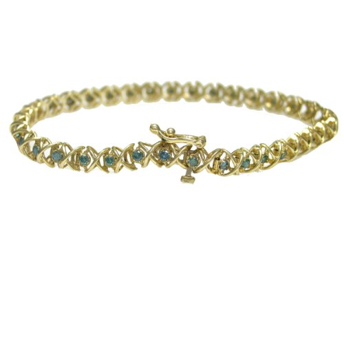 1 CT Blue Diamond Bracelet In 14K Yellow Gold
