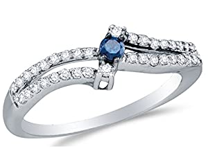 Size 8 - 925 Sterling Silver Blue & White Round Diamond Engagement Ring - Prong Set Three Stone Center Setting Shape with Channel Set Side Stones (1/3 cttw.)