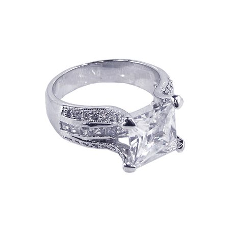 Gorgeous Large Princess Cut Center Stone, Combined with Princess and Round Cut Side Stones, Includes Gift Box and Pouch. (10)