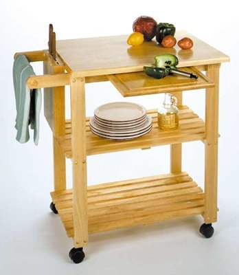 Cheap Kitchen Cart With Cutting Board, Knife Block And Shelves By Winsome Wood (B005T8WOEI)