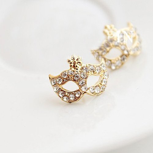 Gold Plated Crystal Rhinestone Party Mask Earrings