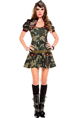 Lover-baby® a Three Piece Sexy Army Puff Sleeves Front Zipper Womans Army Costume