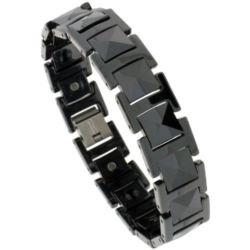 Sabrina Silver Tungsten Black H & Cushion Link Magnetic Bracelet, 9/16 in. (14mm) wide (BTN154)