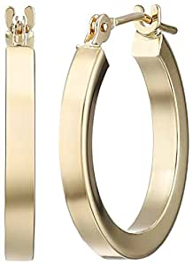 Amazon com 14k yellow gold square tube hoop earrings jewelry