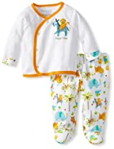 Happi by Dena Baby-Boys Newborn Jungle Print 2 Piece Footed Pant Set, White, 0-3 Months