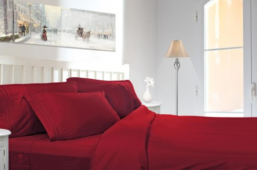 Clara Clark ® Premier 2000 Collection Micro Silk W/ Aloe Treatment Bed Sheet Set, Twin Size, Burgundy Red front-1051809