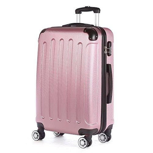 2045 Hartschale Koffer Trolley Reisekoffer einzelgröße XL-L-M in 10 Farben (M, Pink)