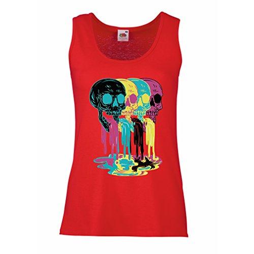 Serbatoio femminile Colored skulls idea regalo moda (Large Rosso Multicolore)