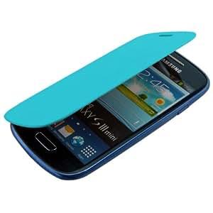 Étui de protection à rabat pratique et chic pour Samsung Galaxy S3 Mini i8190 en Bleu clair de la marque kwmobile