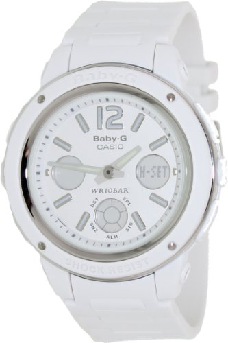 Casio Women's Baby-G BGA150-7B White Resin Quartz Watch with Digital Dial
