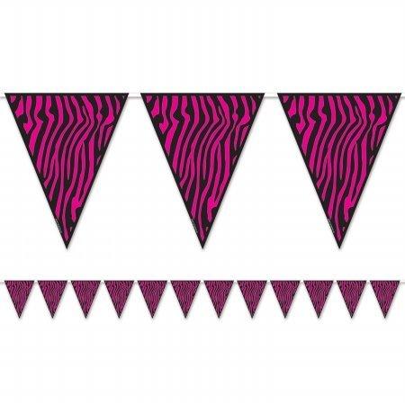 Beistle Company 54241-CBK Zebra Print Pennant Banner - Pack