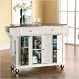 Crosley Furniture Stainless Steel Top Kitchen Cart in White Finish