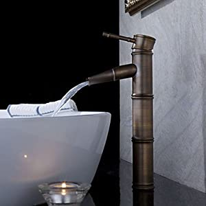 Antique Bronze Waterfall Bathroom Sink Faucet Bamboo Shape Design Touch On Bathroom Sink