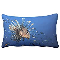 Zp Shine All Kinds Of Fishes In The Ocean Freely Well Decorating Your Room Dark-Blue Decorative Home Pillowcase Cover Cushion Cover 20X36 inch by Zp Shine
