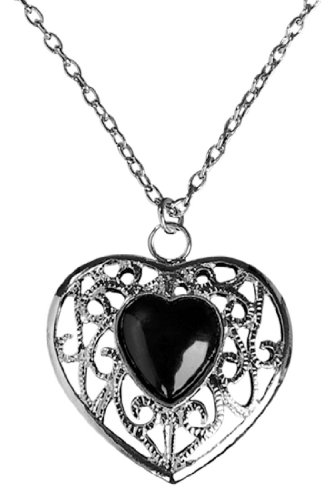 Rubie's Costume Blood Line Collection Heart Necklace, Silver/Black, One Size