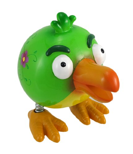 Whimsical Angry Green Bird Spring Leg Coin Bank - 1