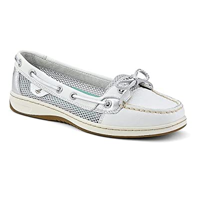 Sperry Top-Sider Women's Angelfish White Leather/Silver Open Mesh Boat Shoe 6 M (B)