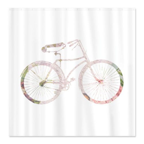 CafePress Floral Vintage Bicycle Shower Curtain   Standard White