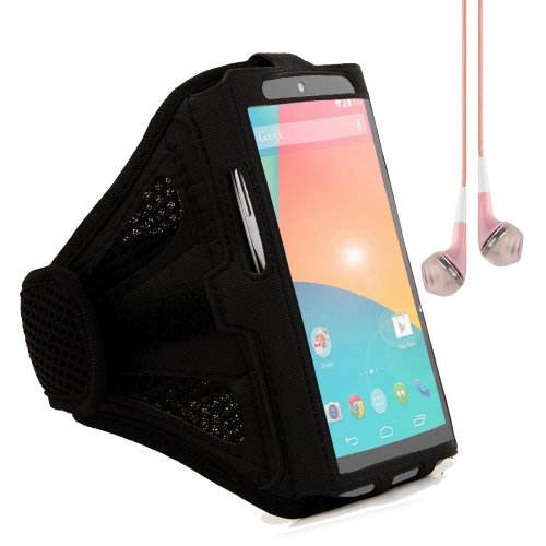 Adjustable Workout Armband Pouch Case For Google Nexus 5 / Nexus 4 / Lg L9 (Black) + Pink Vangoddy Headphones With Mic