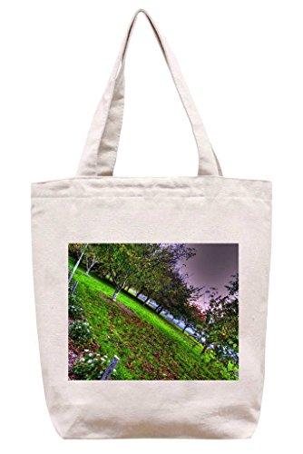 Sideways Tree Line - Cotton Canvas Tote Bag