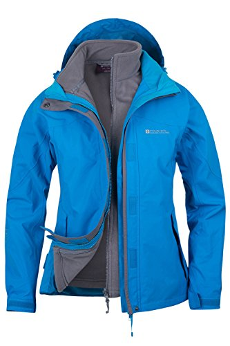 Mountain Warehouse Damen Storm 3 In 1 Wasserdichte Regenjacke Fleece Mantel Jacke Neu Multifunktionsjacke Regenjacke Türkis DE 38 (EU 40)