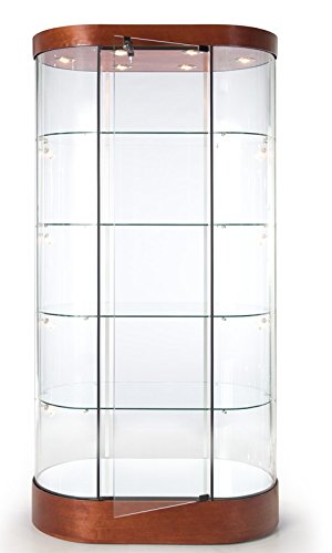 Tecno Display Oval Tower Case With Mirror Deck And Led Lighting, Gl122-Led, Gl122 Led, Gl122Led