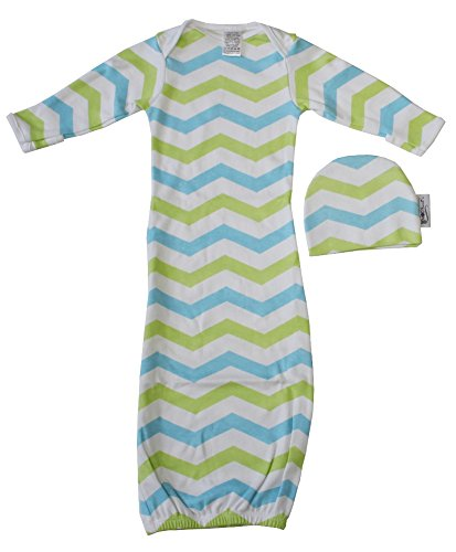 Mod Swad Supreme Indian Cotton Baby Gown & Hat Set (Medium 16-23 lbs, Aqua Lime Chevron)