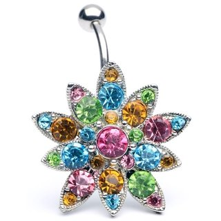 Outstanding Large Swarovski Crystal Flower Reverse Hinged Belly Navel Bar (comfortable moves with you)