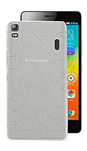 ECellStreet Exclusive Semi Transparent Stone Textured Back Case Cover Back Cover For Lenovo A7000 / K3 Note - White