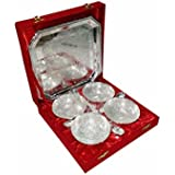 DecorifyMe Silver Plated Ethnic 9 Pcs Gift Set 4 Floral Embossed Bowl And 4 Stylish Spoon And 1 Engraved Tray...