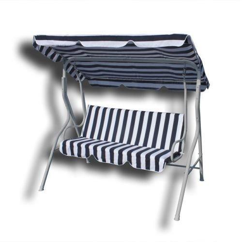 Hollywoodschaukel Gartenschaukel Schaukel Gartenliege Bank Gartenmöbel 3-Sitzer in Blau/Weiß bestellen